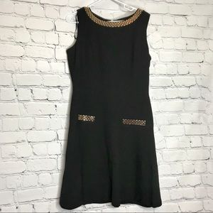 Karl Lagerfeld Black Studded Fit & Flare Dress